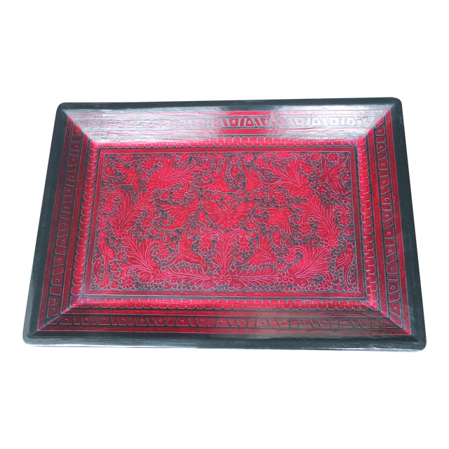 Red & Black Hand-Carved Wooden Tray For Sale