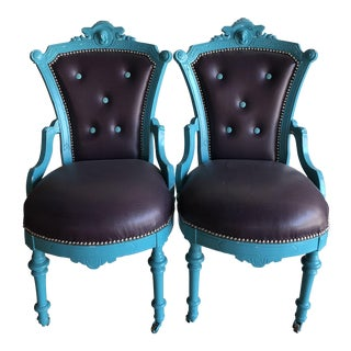 Vintage His & Hers Head Teal & Purple Chairs - a Pair For Sale