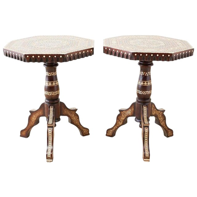 Pair of Middle Eastern Moorish Inlaid Drink Tables For Sale