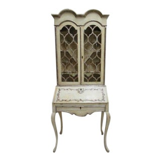 Vintage Italian Regency Drop Front Secretary Desk For Sale