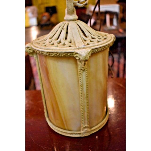 Antique Arts & Crafts Style Slag Glass Hanging Light Fixture For Sale - Image 5 of 7