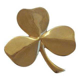 Vintage Gold Plated Brass 3 Leaf Clover Irish Blessing Paper Weight