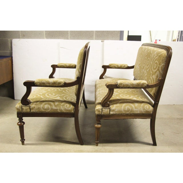 French Provincial Antique French Settee Benches, Pair For Sale - Image 3 of 7