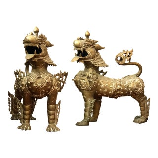 Large 20th Century Brass Gilt Foo Dogs Armored Lion Temple Guardians - a Pair For Sale