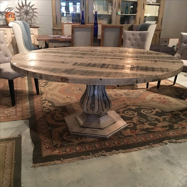 Reclaimed Pine Top Round Dining Table - Image 2 of 6