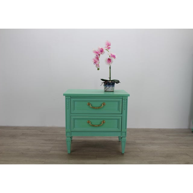 Neoclassical Mid Century Neoclassical Style Nightstand, Green Nightstand For Sale - Image 3 of 11