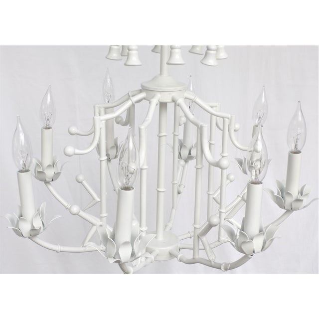 Large Palm Beach Regency Pagoda Faux Bamboo White Chandelier - 8 Arms For Sale - Image 11 of 12