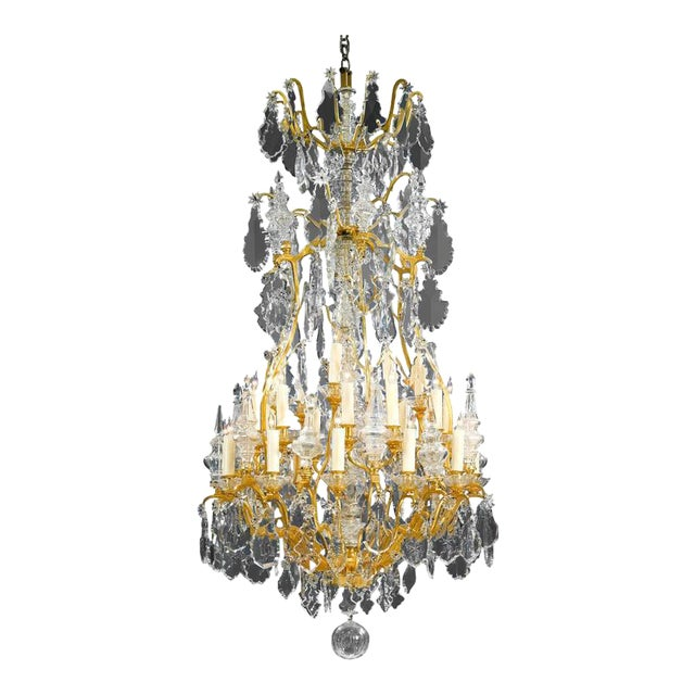 Thirty-Light Baccarat Crystal Chandelier For Sale