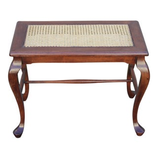 1930s Louis XV Solid Walnut and Caning Sitting Bench