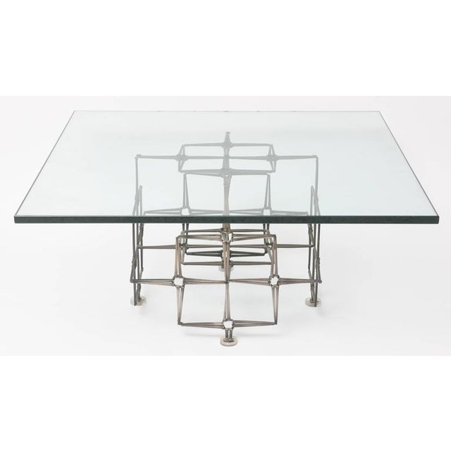 Transparent 1980's Vintage Large Square Brutalist Nails & Glass Cocktail Table For Sale - Image 8 of 10