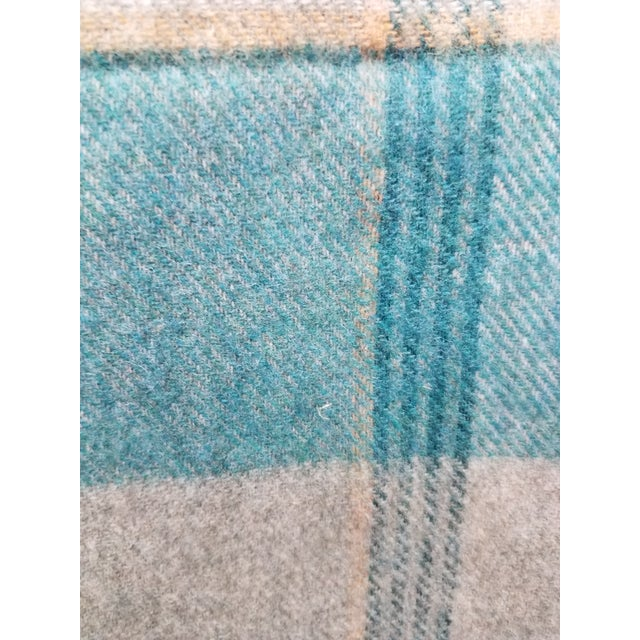 Textile Merino Wool Throw Light Aqua Blues Grey Plaid - Made in England For Sale - Image 7 of 9