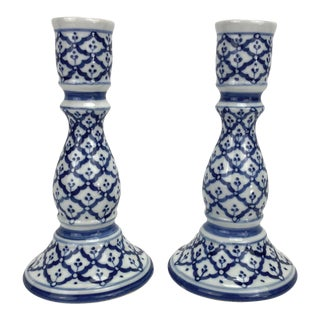 1970s Blue & White Mediterranean Style Candlesticks - a Pair For Sale