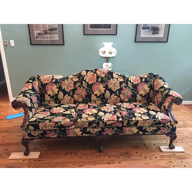 Gorgeous Chippendale-Style Black and Rose Tapestry Camel-Back Couch - Image 2 of 7