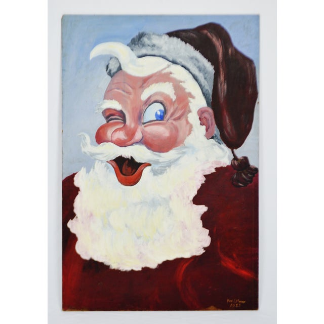 1953 Vintage Signed Santa Claus Painting - Image 2 of 10