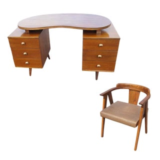 Mid Century Modern Oak Vanity and Chair - 2 Pieces