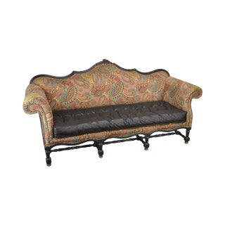 French Louis XIV Style Custom Quality Tufted Brown Leather and Paisley Upholstered Sofa For Sale