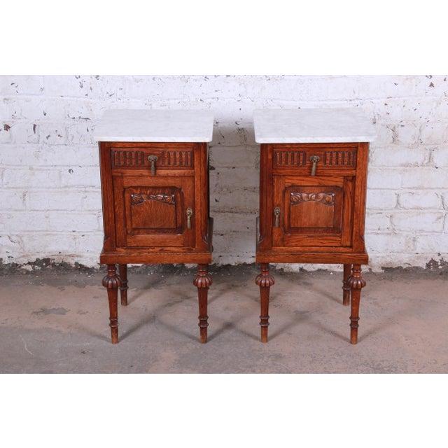 19th Century Victorian Carved Oak Marble Top Nightstands - a Pair For Sale - Image 13 of 13