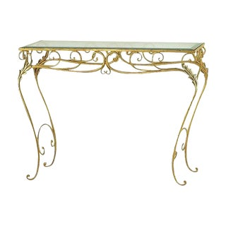 Italian Hand Wrought Gold Leaf Iron Console Table For Sale