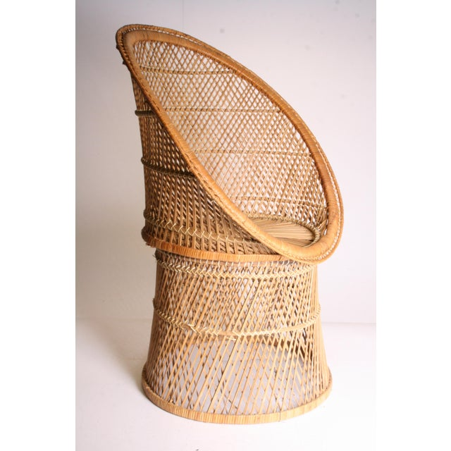 Boho Chic Vintage Boho Chic Wicker Pod Chair For Sale - Image 3 of 11