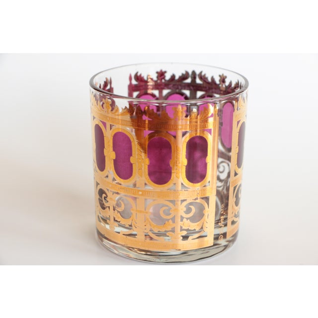 Culver Cranberry Scroll Highball and Lowball Glasses - Set of 12 - Image 5 of 9