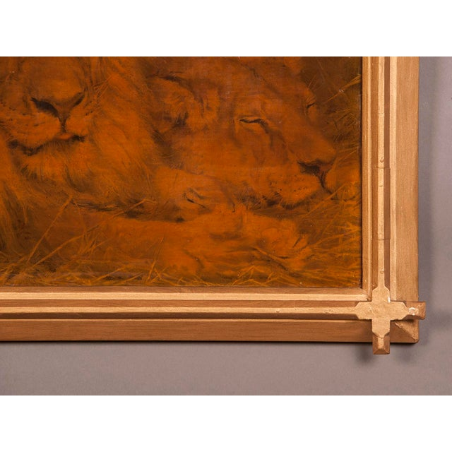 1930s Gilded Framed Oil Painting of Lion For Sale In Houston - Image 6 of 7