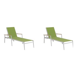 Outdoor Sling Chaise Lounge, Natural and Green (Set of 2) For Sale