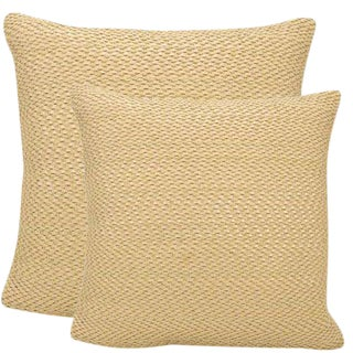"Woven Leather & Suede Tan Beige Decorative Pillows - 20""x20"" For Sale"