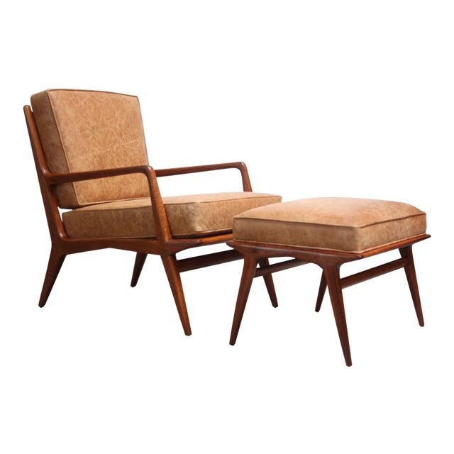 Italian Modern Carlo De Carli Walnut and Leather Lounge Chair and Ottoman For Sale