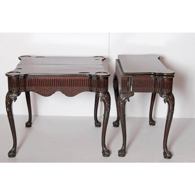 Pair of Irish Chippendale Carved Mahogany Concertina Card Tables For Sale - Image 10 of 12