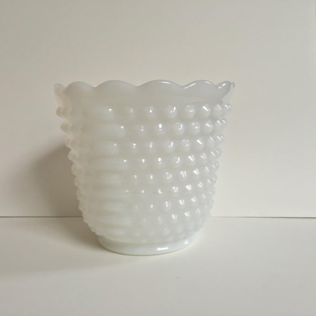 Charming vintage Fire King vase/planter with hobnail detail and scalloped edges. Pressed milk glass with no chips or craps.