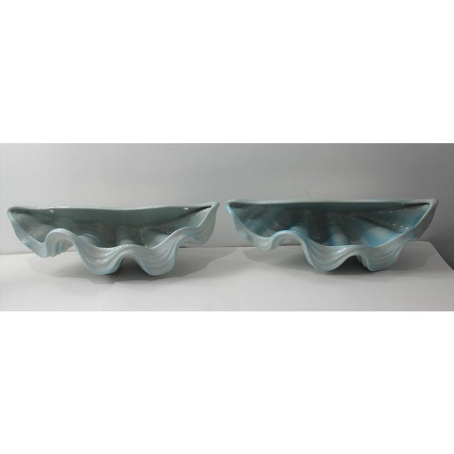 Mid-Century Modern Robins Egg Blue Wall Pockets Cachepot - a Pair For Sale - Image 4 of 13