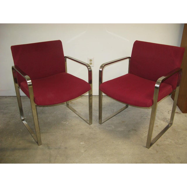 Red Mid Century Modern Chrome Flat Bar Side Chairs- A Pair For Sale - Image 8 of 8