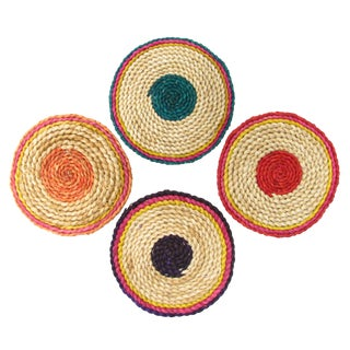 Colorful Woven Trivets - Set of 4 For Sale