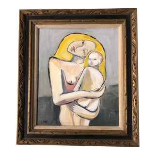 Original Contemporary Stewart Ross Modernist Mother & Child Painting Ornate Frame For Sale
