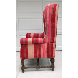 Early 20th Century Antique Kilim Rug Upholstered Wingback Chair Preview