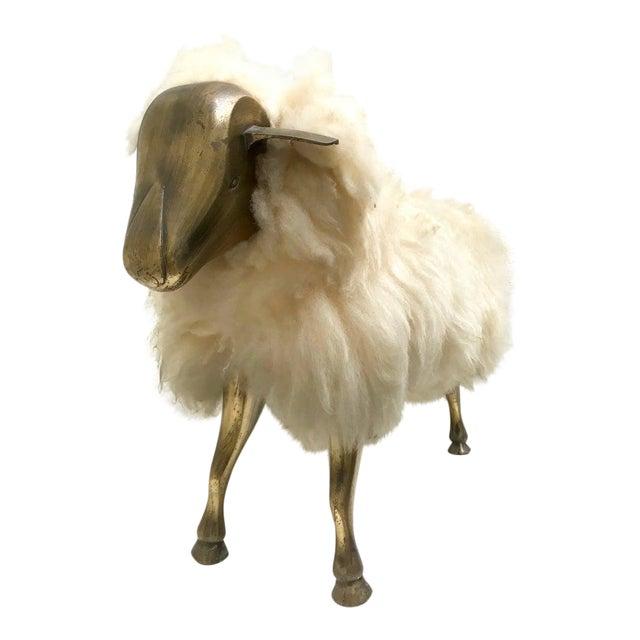 1960s Vintage Claude Lalanne Style Brass Lamb Sculpture For Sale