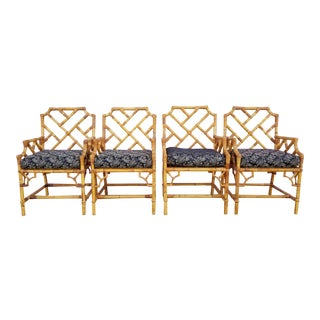 Vintage Italian Palm Beach Style Chippendale Bamboo Dining Chairs- Set of 4 For Sale