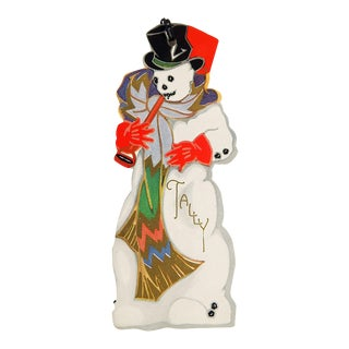 Vintage Art Deco Snowman Christmas Bridge Tally Card For Sale