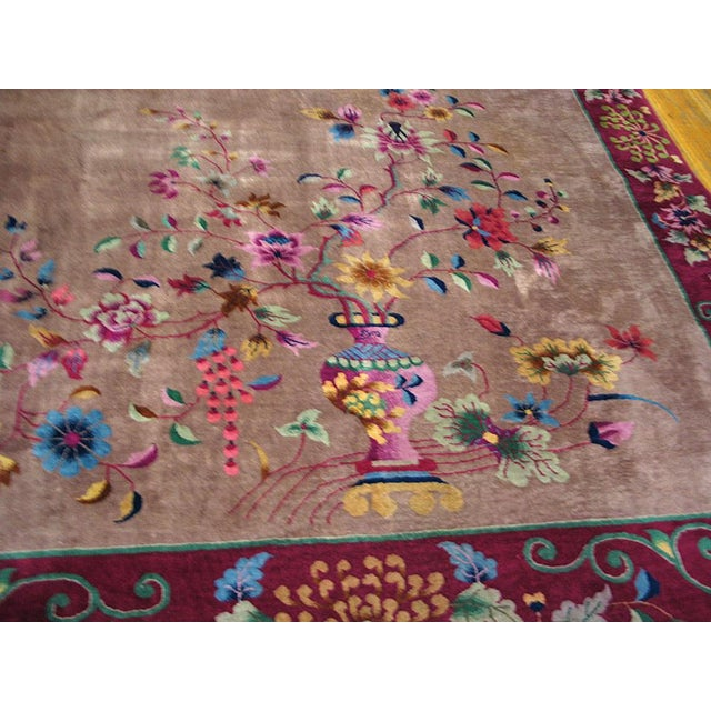Art Deco Antique Chinese Art Deco Rug- 8′10″ × 11′8″ For Sale - Image 3 of 7