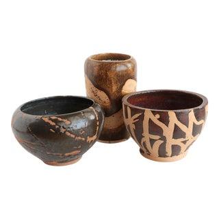Resist Glazed Studio Pottery Vessels - Set of 3