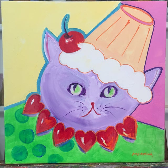 2010s Painting of The Valentine Cat With the Cupcake Hat For Sale - Image 5 of 5
