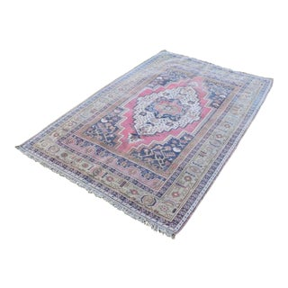 Pastel Blue Color Vintage Oushak Rug, Woven Tribal Flat Narrow Rugs for Nursery, Small Modern Outdoor Carpet for Kids Room 4'2'' X 6'5'' For Sale
