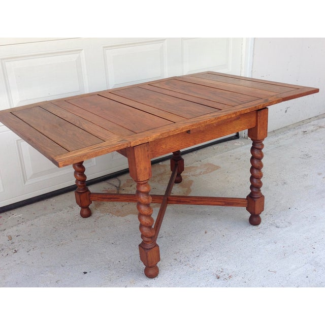 Antique English Oak Pub Table And 4 Chairs Dining Set For: Antique Oak Barley Twist Pub Style Dining Table