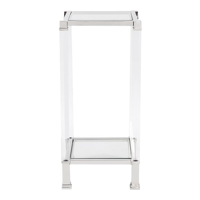 Kenneth Ludwig Chicago Claire Acrylic & Chrome Pedestal Table For Sale