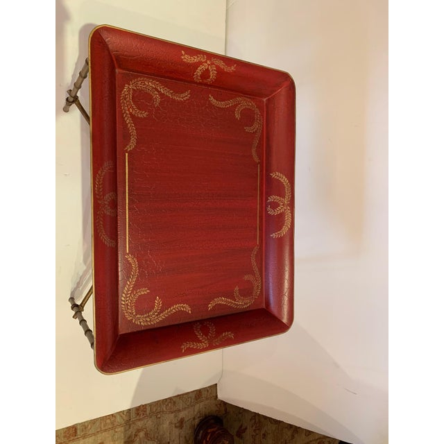 Tray Top Side Table With Gilt Bamboo Base For Sale - Image 9 of 13
