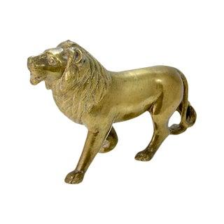 1960s Vintage Solid Brass Lion Figurine For Sale