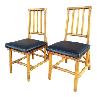 Vintage Hollywood Recency Style Bamboo Rattan Bentwood Side Chairs - A Pair