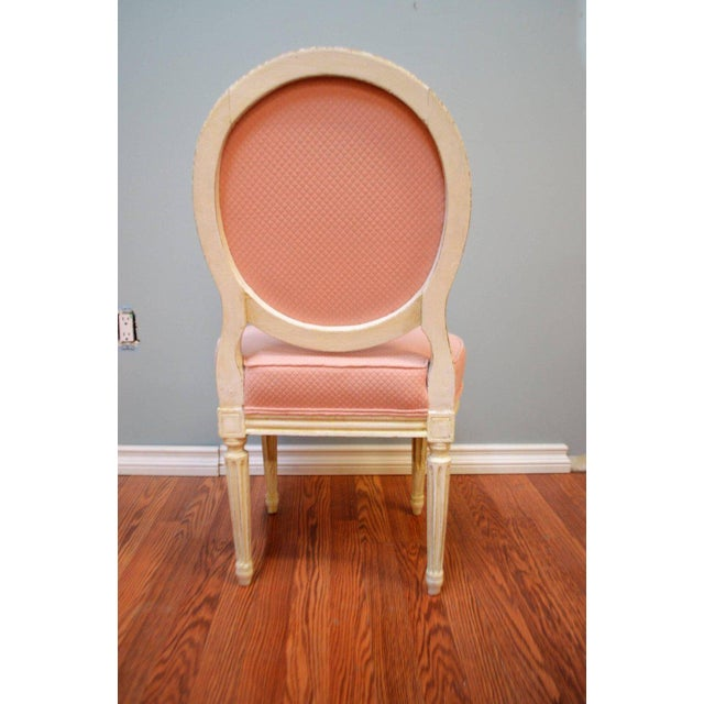 Textile Louis XVI Style Painted Boudoir Chairs Newly Upholsted in a Pink Fabric - a Pair For Sale - Image 7 of 9
