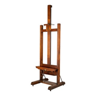 Large French Oak Painter's Display Easel For Sale