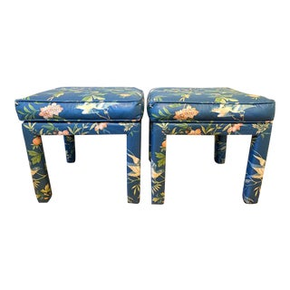 Pair Parsons Style Pillow Top Ottoman For Sale